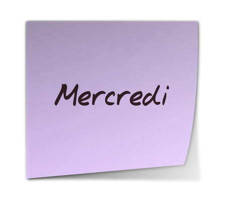 weekdays: Color Paper Note With Wednesday Text in French