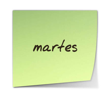 weekdays: Color Paper Note With Tuesday Text in Spanish  jpeg file has clipping path