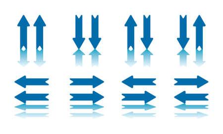 flèche double: Collection de 8 paires fléchées avec la réflexion sur Avion fichier jpeg Bas a également tracé de détourage