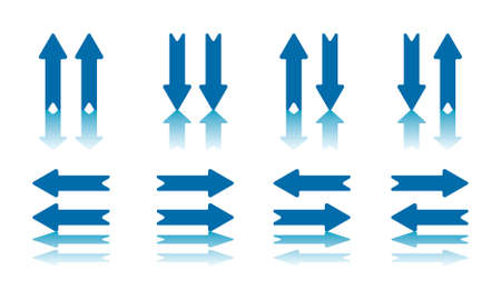Collection of 8 Arrow Pairs With Reflection on Bottom Plane  jpeg file also has clipping path  Vector