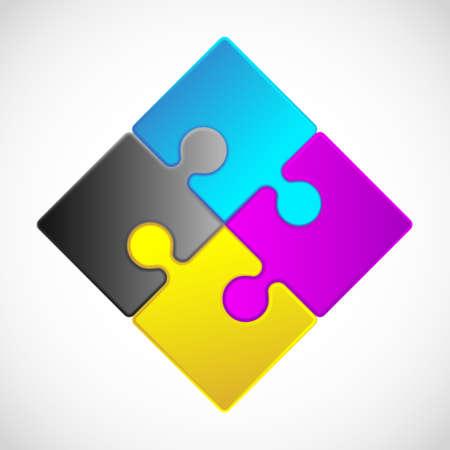4 ピースのジグソー パズルそれぞれの作品は、編集可能なブレンド