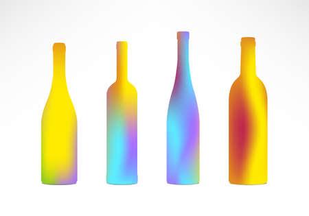 tending: Four Color Gradient Bottle Silhouettes - Vector Illustration  v10 eps  Illustration