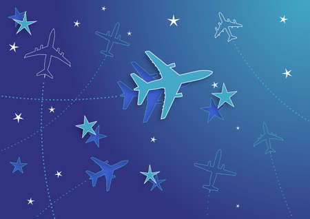 divert: Vector Illustration of Airplane Routes And Stars