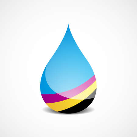 Vector Illustration of Drop With Offset Printing Colors eps v 10