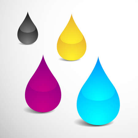 offset: Vector Illustration of Four Drops With Offset Printing Colors  eps v 10  Illustration