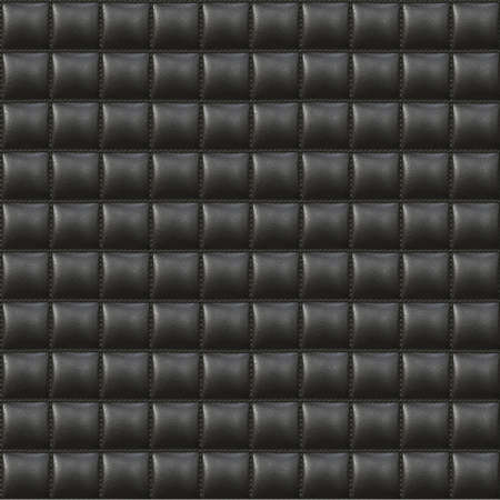 hyper: Black Upholstery Leather Seamless Pattern - Hyper Realistic Illustration