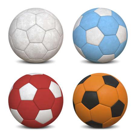 4 サッカー ボール - ハイパー現実的な 3 D イラスト