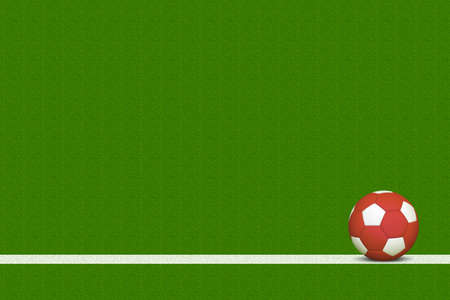 grass line: Red Soccer Ball Over White Line of Grass Field