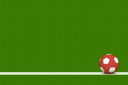soccer field: Red Soccer Ball Over White Line of Grass Field