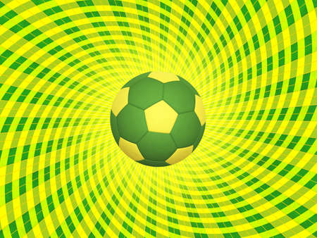 soccerball: Soccer Ball With Colors of Brazil Over Striped Dynamic Background - Realistic 3D Illustration