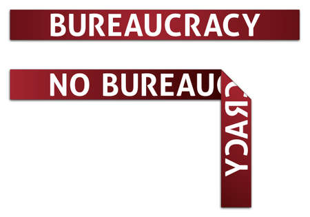 burocracia: Bureaucracy and No Bureaucracy Red Tape Illustrations