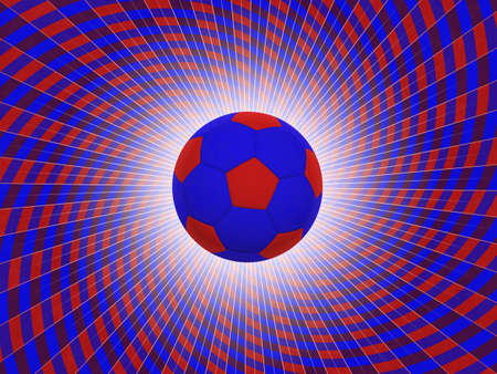 soccerball: Soccer Ball With Colors of the UK Over Striped Dynamic Background - Realistic 3D Illustration