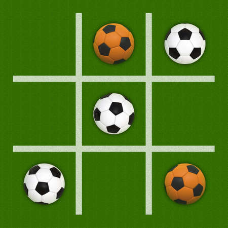 tic tac toe: Tic-Tac-Toe Game With Soccer Balls Instead of Circles and Crosses Stock Photo