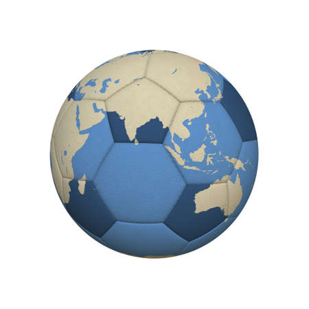 World Map on a Soccer Ball Centered on Asian Continent  jpeg Stock Photo - 13330677