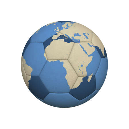 World Map on a Soccer Ball Centered on African Continent photo