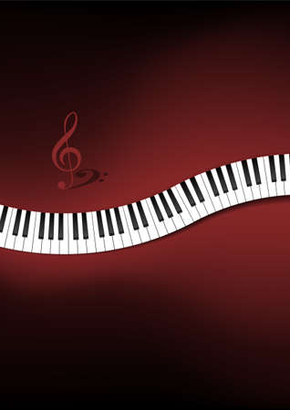 g clef: Curved Piano Keyboard Background Illustration Illustration