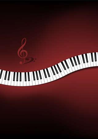 teclado de piano: Teclado Piano fondo curvo Ilustraci�n Vectores