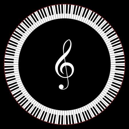 高音部記号ベクトル イラストとピアノのキーのサークル