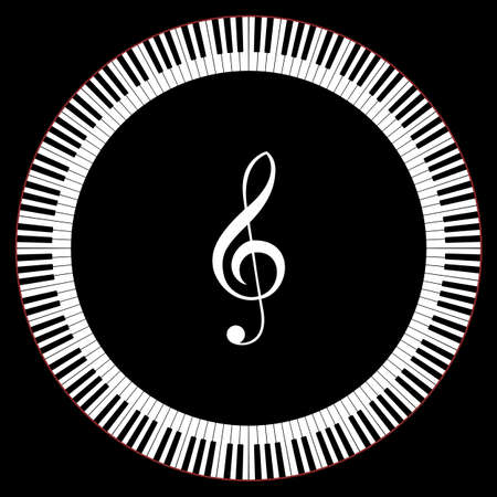 clef: Circle of Piano Keys With Treble Clef Vector Illustration