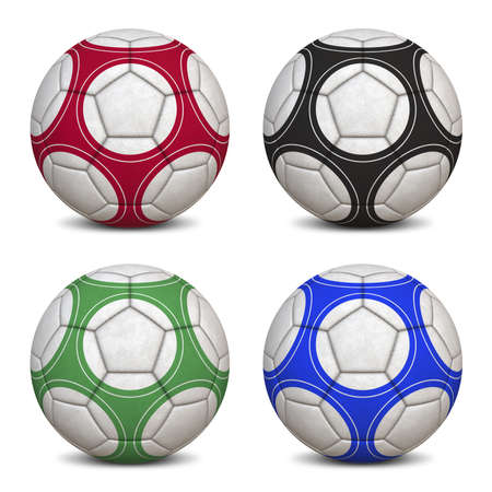 hyper: Four Soccer Balls - Hyper Realistic 3D Illustrations (jpeg file with clipping path)