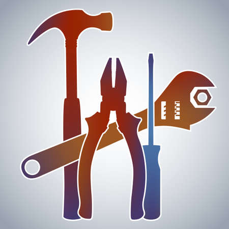 handyman tools: Tools - Color Gradient Silhouettes