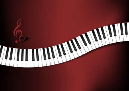 krökt: Böjd Piano Keyboard Bakgrund Illustration Illustration