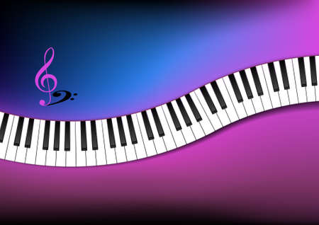 Curved Piano Keyboard Background Illustration Vector