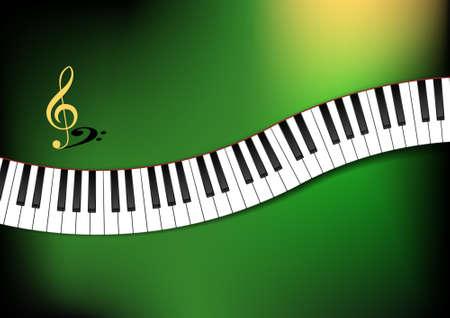 Gebogen Piano Keyboard Achtergrond Illustratie