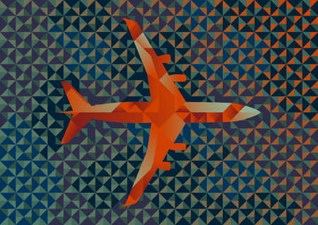 commercial airplane: Commercial Airplane Illustration of Interlocking Geometric Shapes
