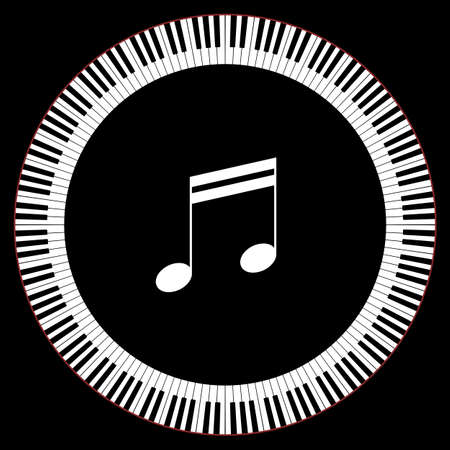 octaves: Circle of Piano Keys With Two Beamed Eight Notes