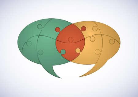 Zwei sich kreuzende Puzzle Pieces Sprechblasen Bezeichnen Zusammenarbeit Konzept