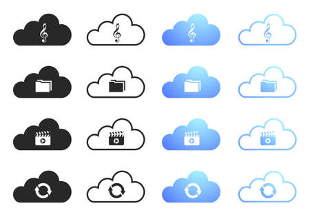 icloud: Cloud Computing Icons - Sixteen Illustrations Illustration