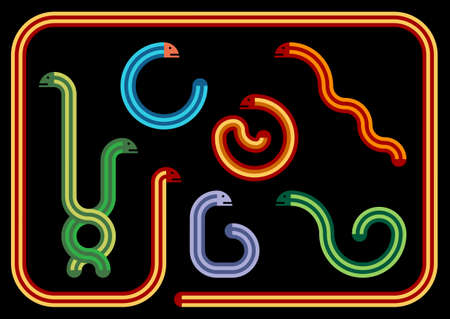 coiled: Snakes Illustrations - Geometric Snakes in Different Colours and Positions Illustration