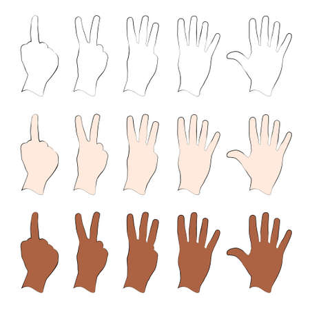 counting: Human Hand Using Fingers to Count From One to Five Illustration