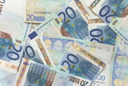 20 euro: Close-up of Euro Bills Horizontal Background Photo Stock Photo