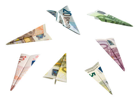 20 euro: EURO Currency Airplanes  with clipping paths  Stock Photo