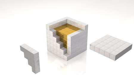 Gold Core-inside Open Cube  photo