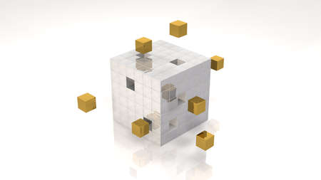 Highlighted Gold Cubes in Cube Structure photo