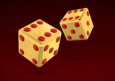 Gold Dice With Rubin  Stock Photo