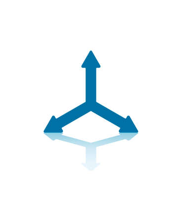 Three Blue Arrows Splitting From Center Illustration Vector