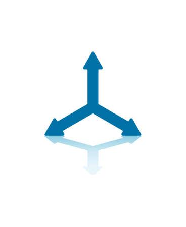 splitting: Three Blue Arrows Splitting From Center Illustration