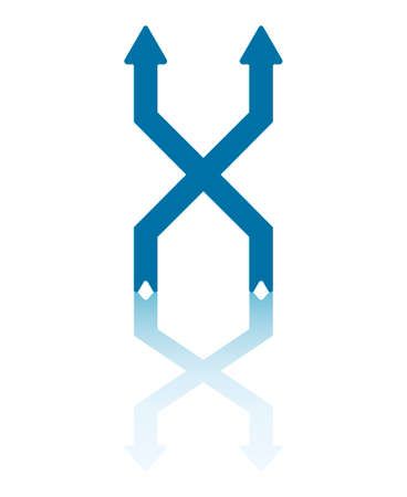 Two Vertical Arrows Exchanging Right and Left Positions Vector Illustration