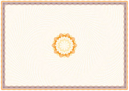 passeport: Contexte guilloch� de certificat ou dipl�me (fond, cadre et rosette) Illustration