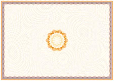 a4 borders: Sfondo Guilloche per certificato o diploma (sfondo, cornice e rosetta) Vettoriali