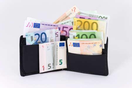dinero euros: Carpeta por completo de euros (foto con trazado de recorte) Foto de archivo