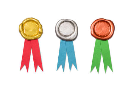 Golden Silver and Copper Wax Seals With Ribbons Isolated on White (with clipping path)