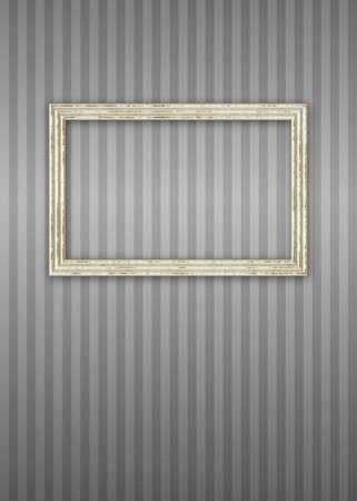 bitmap: Worn Picture Frame Over Stripped Wallpaper Bitmap Illustration frame has clipping path