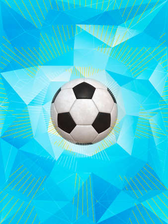 dynamic background: Soccer Ball Over Polygonal Dynamic Background With Colors of Brazilian Flag