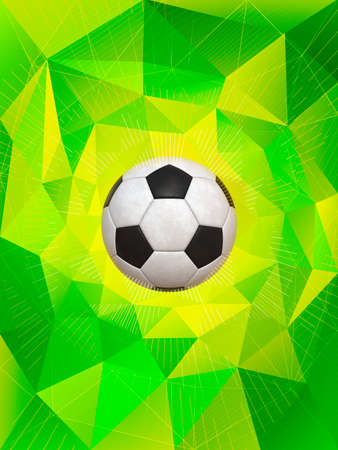 soccerball: Soccer Ball Over Polygonal Dynamic Background With Colors of Brazilian Flag