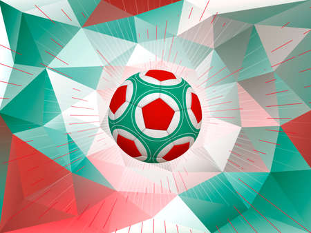 mexican flag: Soccer Ball Over Polygonal Dynamic Background With Colors of Mexican Flag